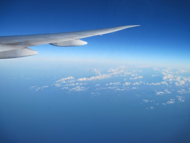 Flying over the Pacific Ocean.