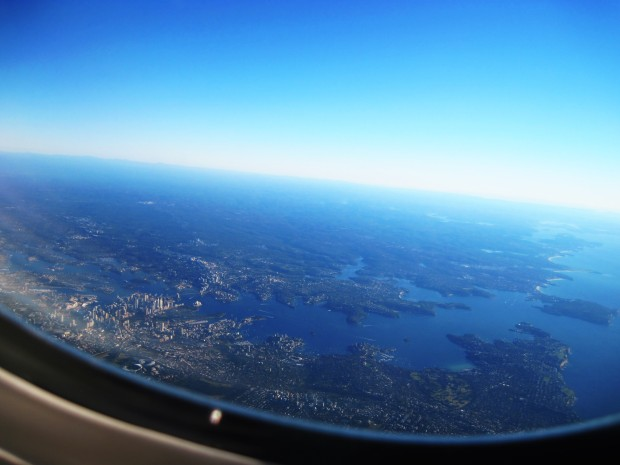 View of Sydney Harbour from the plane.