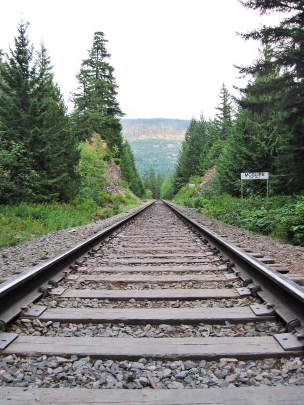 There's something about long train tracks and vanishing points that gets me every time, especially if there's a mountain at the end.  Near Whistler, BC.